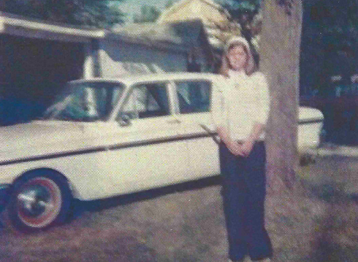 Hungerford on her first day of work at the Morgan County Health Department in 1976. Her dad gave her the car to drive to work in.