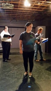 """Rick Dunham (Fagin), Kendi Klein (Nancy) and Rob Decroix (Bill Sykes) rehearse a scene for Playhouse On The Square's """"Oliver!"""""""