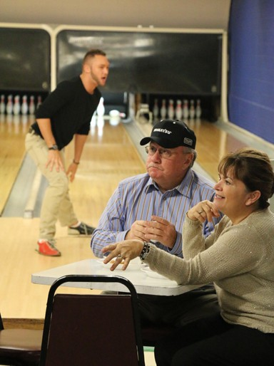 Photo/Kyla Hurt. Winchester Mayor Rex McIntyre and wife, Carol, dined at a packed Winchester Bowl. Steve Granger, owner of the bowling alley, was dishing out free soup lunch to the community.