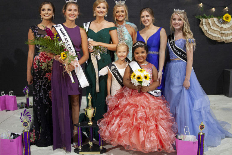 Queen winners (from left) Sydney Elizabeth Hembrough, Lari Annette Jackson and Courtney June Privia with 2019 Junior Miss Kayla Carolyn Brackett and 2019 Princess Aleah May Walls with 2018 Royalty - - - Morgan County Fair Queen, Junior Miss and Princess Pageant Tuesday 9 July 2019 in Jacksonville. Photos by Tiffany & Steve of Warmowski Photography http://www.warmowskiphoto.com 217.473.5581 190709