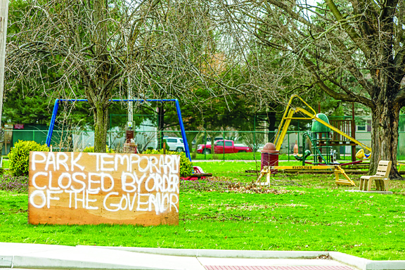 Photo/Karen Anderson While parks are open for people to enjoy recreation while practicing social-distancing, playgrounds remain closed.