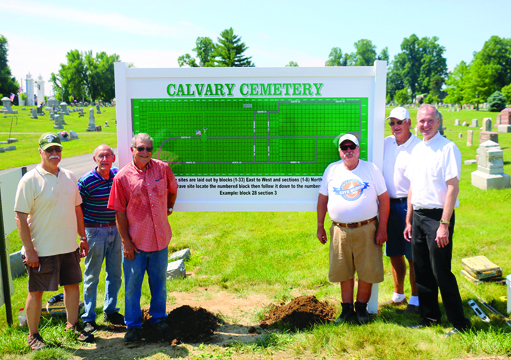 Uplifting sign at Calvary Cemetery