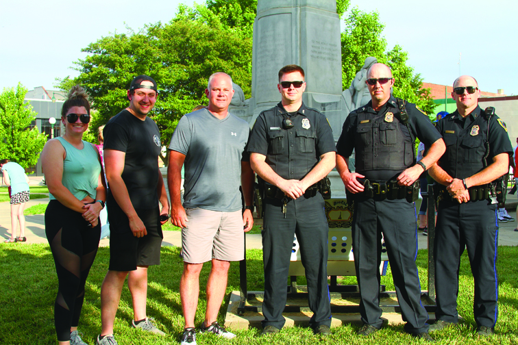 Members of the Jacksonville Police Department were on hand to support the Prayer Event. From left to right, Katy Bettis, Ryan Dudley, Phillip Warren, Matt Martin and Doug Klendworth.