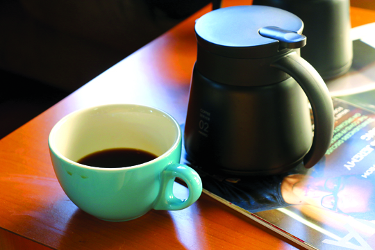 When ordering coffee, it will be brewed right then and served with a carafe.