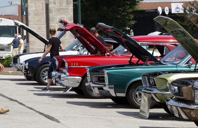 Cars sit on the square in downtown Jacksonville during the Morton Avenue Misfits Car Show Saturday, August 15.