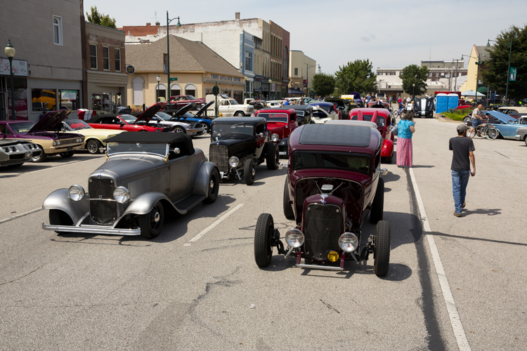 Old cars sit on the south side of the square in Downtown Jacksonville Saturday, August 15.