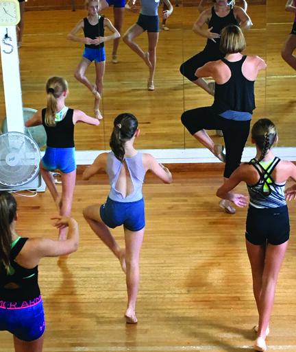 Amy Stevens Kaufmann (front right) teaches a class using the mirror.