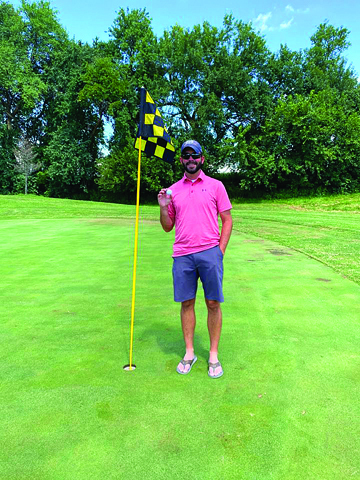 Photo/Submitted to The Source Tom Watkins of Jacksonville hit a hole in one golfing at Plum Creek Golf Course in Winchester on Friday, August 21. Watkins has been golfing for six years and made this successful shot at hole 7 during the Calcutta tournament.