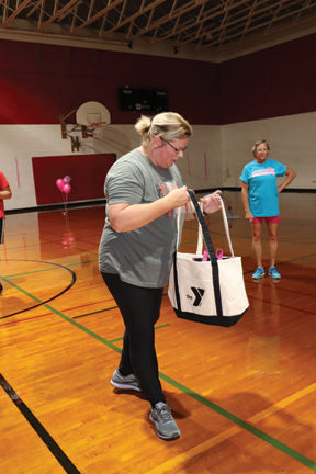 Prizes were drawn when participants took a quick, much-needed breather in the middle of the Zumbathon for hydration. Tasha Meyer received a gift bag from one of the drawings.