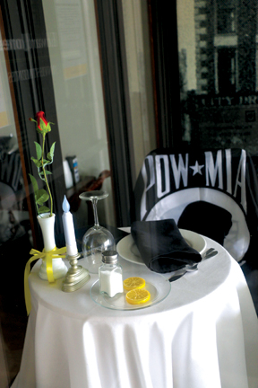 Missing Man Tables on display: POW/MIA remembrance
