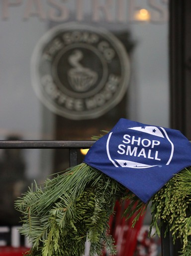 """3. """"Shop small"""" is the idea behind Small Business Saturday. Many local businesses adorned their shops and stores with swag promoting the support local small business. It's a concept that should be followed daily and any time we can."""