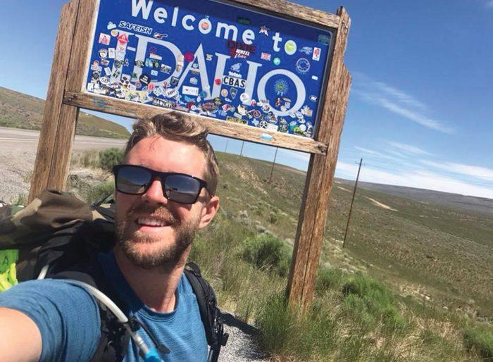 Lempko stops for a photo as he rolls into Idaho