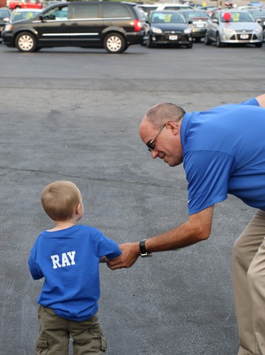 Photo by Kyla Hurt Ray, grandson of Sales Manager Jim Birdsell, took a few minutes to dance it out with Birdsell, grooving to the tunes of Geezer.