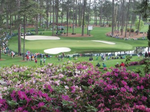 Photo/Blake Schnitker A shot of the 16th hole green at Augusta National Golf Club in Augusta, Ga.