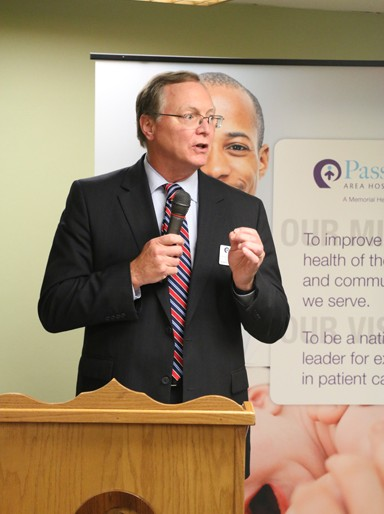 President and CEO of Passavant Area Hospital, Doug Rahn, presents information on the new unit