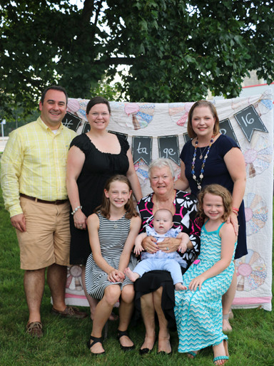 "It was a family affair for this group, posing at the ""selfie station."" Standing (L-R) is Alban Haxhinasto, Elizabeth Becker and Kristan Becker Hoffman. Seated (L-R) is Leah Hoffman, Joy French Becker (holding granddaughter Elianna) and Kolby Hoffman."