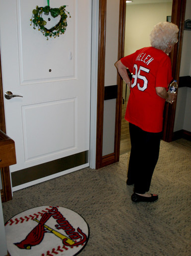 A Cardinal Fan Helen 95 all the way to the shoes!