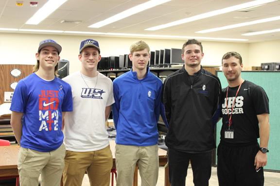 Soccer Boys  Pictured (L to R), representing boys soccer: Grant Flynn, Steven Albers, Tyler DeGroot, John Gibbons and Coach Evan Philpott.