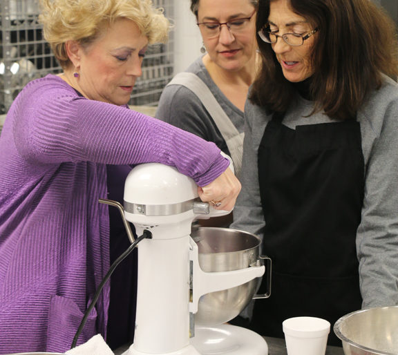 Instructor Terri Branham reviews what should be the perfect consistency in the mixing bowl.