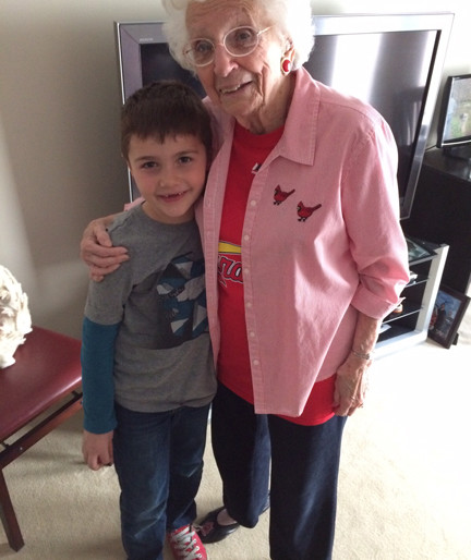 "Great-grandson Parker Henry with his ""big grandma."""