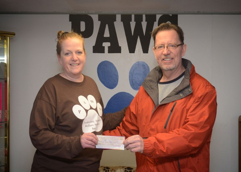 P.A.W.S. receives donation