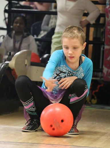 "The kids seemed to take interest in the bowling afternoon, having fun and participating along with their ""pin pals."" Pin Pals on this particular Sunday included: Camilla Nicoletta, Ethan McDaniel, Rebekah Webster, Cullen Newport and Rebecca Peterson."