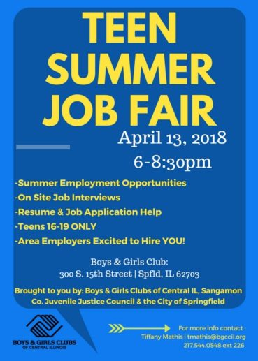 BOYS & GIRLS CLUBS OF CENTRAL ILLINOIS TO HOST TEEN JOB FAIR