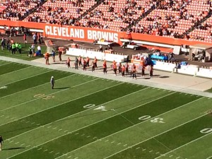 Tyler Carpenter (the Bass Drum on far right end) playing in the Cleveland Browns Drumline at a game