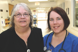 Photos/Special to The Source Newspaper All nurses are RNs. All four recently earned their medical-surgical nurse certification. Cathy Marr and Bethany Gilson.