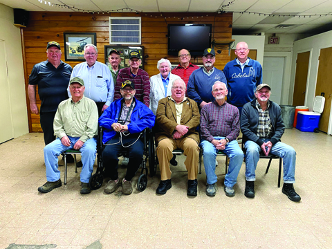 Seated from Left to Right: Bob Hart, Charles Roberts, R Ed Frost, Larry Evans, John Grey. Standing From Left to Right: Chuck Pine, Terry Aossey, Wendell Clayton (a step behind), Don Bigley, Joy Wood, Charles Clayton (a step back), Dave Tribble, Roger Pratt
