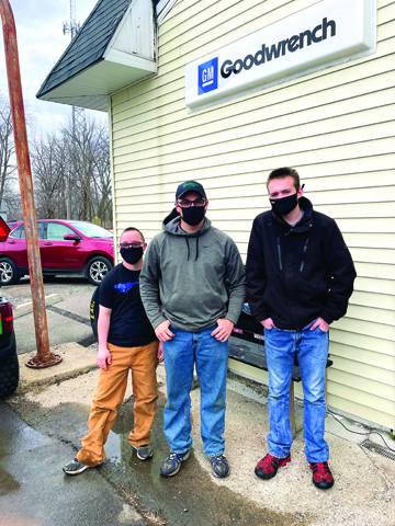 Photo/Francesca Boston (Left) Jacob Widdows, Shawn Wubker and Chandler Libben(left to right) stand outside Inclusion City Shops.